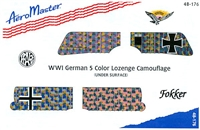 AeroMaster 48-176 WWI German 5 Color Lozenge Camouflage (Under Surface)