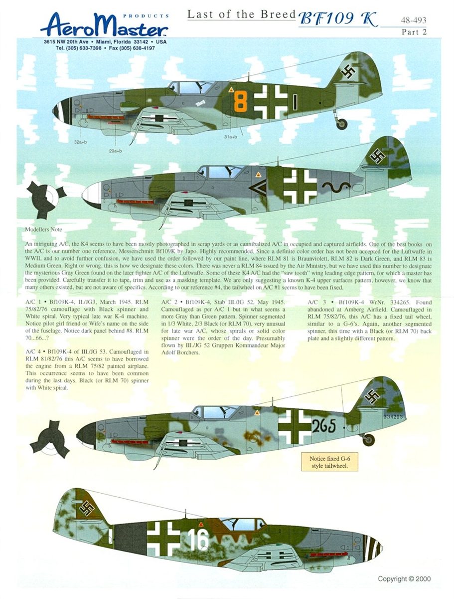 AeroMaster 48-493 Last of the Breed Bf 109K, Part 2