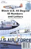 AeroMaster 48-802 - Black U.S. 45 Degree ID Numbers and Letters (8-inch, 12-inch, 18-inch, and 24-inch)
