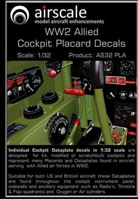 AirScale 32-PLA - WW2 Allied Cockpit Placards