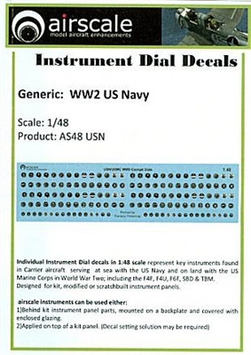 AirScale 48-USN - WWII Navy Instrument Dial Decals