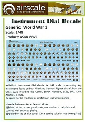 AirScale 48-WW1 - World War 1 Instrument Dial Decals