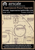 AirScale PE24-SPIT - Supermarine Spitfire Mk. 1/Vb Instrument Panel Upgrade (fits Airfix kit)
