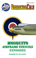 Barracuda BC-24167 - Mosquito Airframe Stencils - Expanded