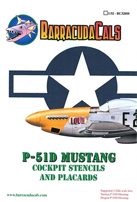 Barracuda BC-32010 - P-51D Mustang Cockpit Stencils and Placards