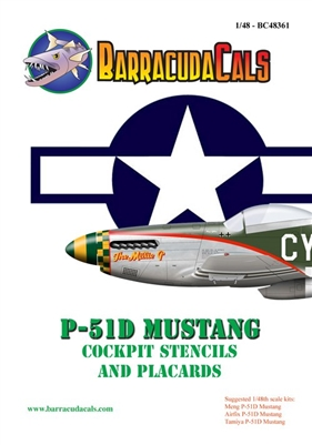 Barracuda BC-48361 - P-51D Cockpit Stencils and Placards