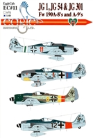 EagleCals EC#48-011 - Fw 190 A-8's and A-9's (JG 1, JG 54 & JG 301)