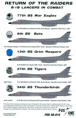 Fox One Decals 48-015 - Return of the Raiders B-1B Lancers in Combat