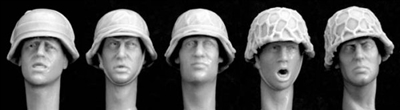 Hornet HGH20 - Heads Wearing WW2 German Helmets with Improvised Coverings