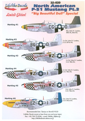 Lifelike Decals 32-020 - North American P-51 Mustang, Part 3