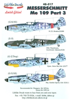 Lifelike Decals 48-017 - Messerschmitt Me 109, Part 3