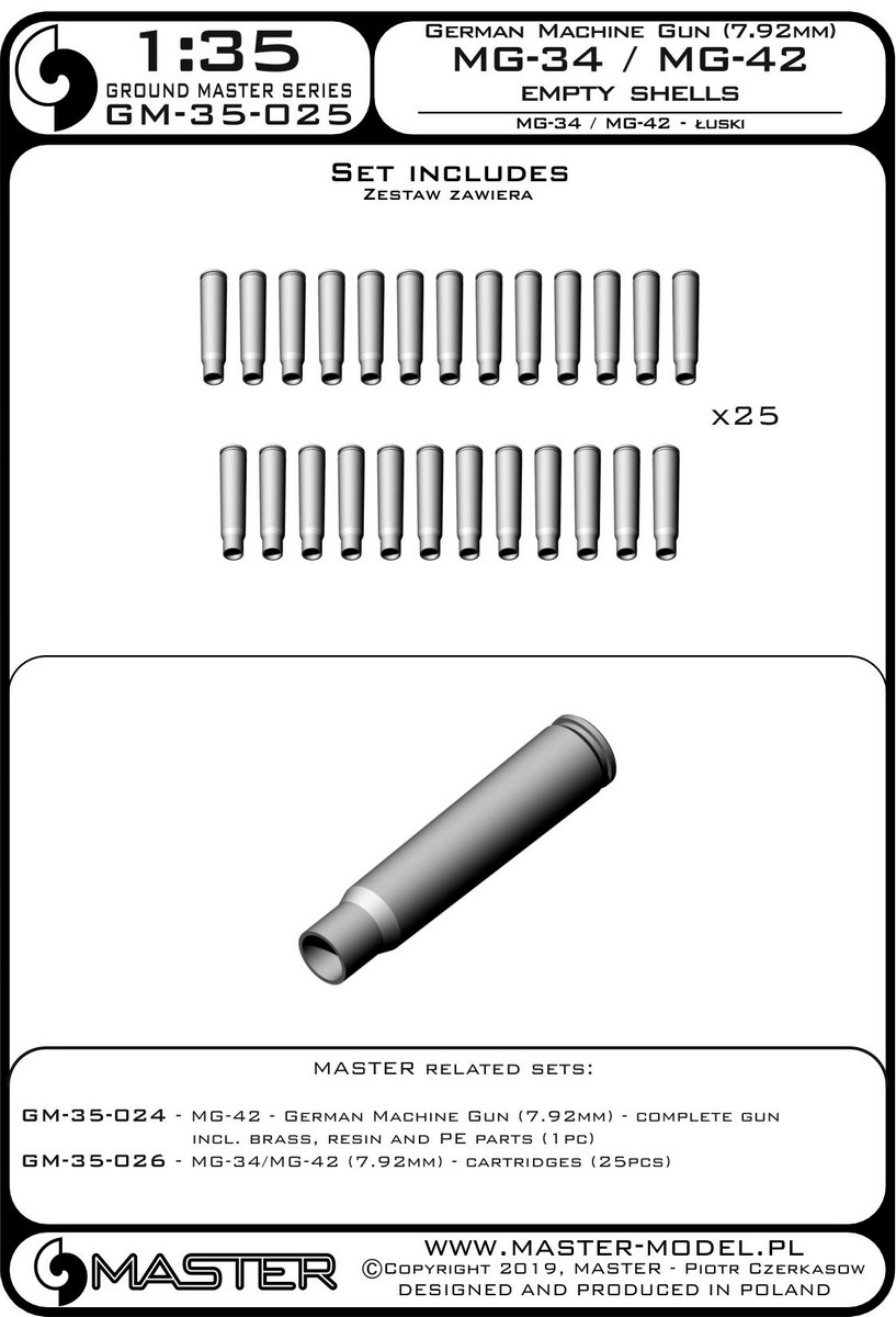 25pcs - Empty Shells 7.92mm Master 1//35 MG-34//MG-42 # GM35025