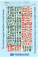 Micro Scale 72-34 - Luftwaffe I.D. Letters & Numbers (Black & Red 10mm)