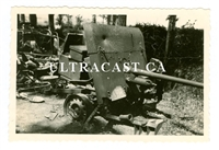 Captured British 2 Pounder Gun with Battle Damage, Beaumont, France 1940, Original WW2 Photo