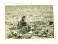 German Soldiers Relaxing in a Fox Hole WWII dated 1941, Original WW2 Photo