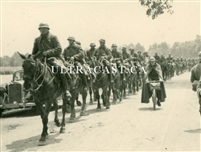 Column of French Cavalry Riding to Captivity as POWs, France 1940, Original WW2 Photo
