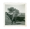 German Soldier and Destroyed Panzer III, Original WW2 Photo