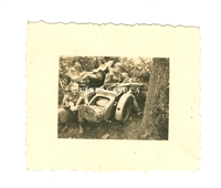 German Motorcycle and Sidecar with Cargo Door Open, Original WW2 Photo