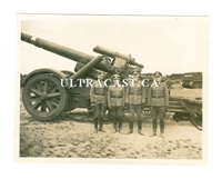 21 cm Artillery Gun and Four Officers, Original WW2 Photo