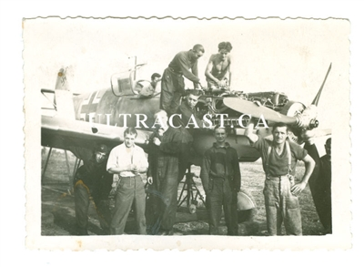 Ground Crew Servicing a Messerschmitt Bf-109E, Original WW2 Photo