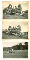 German 5 cm Anti-Tank Gun and Crew (3 photos), Original WW2 Photo