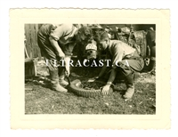German Soldiers Changing a Motorcycle Tire, Original WW2 Photo