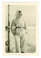 German Soldier Wearing White Winter Uniform, Russia, Original WW2 Photo