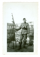 German Soldier with ZB26 Machine Gun on Anti-Aircraft Tripod, Original WW2 Photo