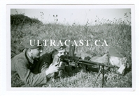 German Soldiers Firing a Captured French FM 24/29 Machine Gun, 2 Original WW2 Photos