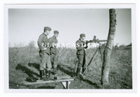 German Soldiers Firing a Captured French FM 24/29 Machine Gun on Anti-Aircraft Tripod, 2 Original WW2 Photos