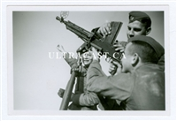 German Soldiers with a Captured French FM 24/29 Machine Gun on Anti-Aircraft Tripod, 2 Original WW2 Photos