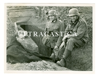German Soldiers Sitting on Slit Trench, Original WW2 Photo