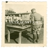 German Soldier with Table Full of MG34 Parts, Multiple Barrels, Original WW2 Photo