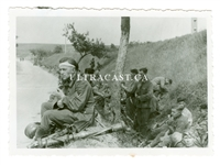 German Soldiers with Model 1936 Stereoscopic Rangefinder Resting on Roadside, Original WW2 Photo