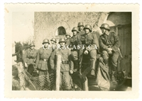 German Soldiers Posing for Photo on Horse Drawn Infantry Cart, Original WW2 Photo