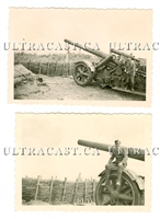 German 21 cm Artillery Gun in Firing Position, 2 photo set, Original WW2 Photos