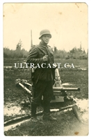German Soldier Armed with Captured Russian SVT-40 Rifle, Original WW2 Photo Card