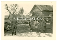 SS Soldiers beside 21 cm Artillery Gun with Wheel Chains, Russia, Original WW2 Photo
