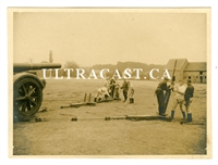Crewman Setting up 21 cm Artillery Gun in Firing Position, Original WW2 Photo