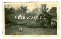 Destroyed French Char B Tank No. 508, France 1940, Original WW2 Photo