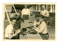 German Soldiers Cleaning Luger Pistols, Original WW2 Photo
