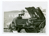 3.7 cm Pak Anti-Tank Gun Being Aimed by German Soldier, Original WW2 Photo