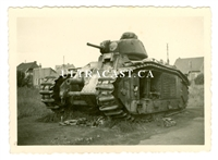 "Wreckage of French Char B Tank Named ""Glorieux"" No. 236, France 1940, Original WW2 Photo"