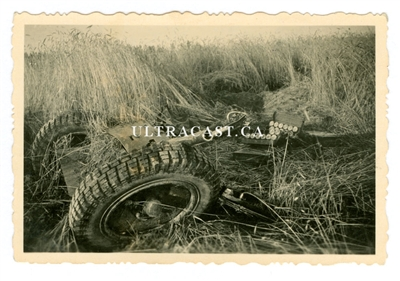 3.7 cm Pak Anti-Tank Gun and Ammunition Boxes, possibly run over by tank, Original WW2 Photo