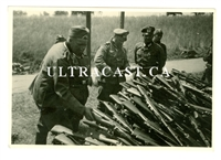 German Soldiers with Stack of Captured Berthier Rifles and Carbines, France 1940, Original WW2 Photo