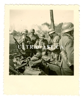 German Soldiers and Motorcycle with Sidecar mounted MG34, Original WW2 Photo