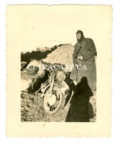 SS Soldier with MP40, Motorcycle and Helmet with Camo Cover, Original WW2 Photo