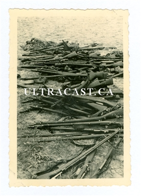 Captured Belgian Mauser 1889/36 Rifles and Berthier Carbines, Belgium 1940, Original WW2 Photo