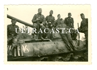 German Soldiers Sitting on Captured T-34 Tank, One Armed with Shotgun, Original WW2 Photo