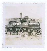 Crewman Inspect Disabled Panzer IV, Original WW2 Photo